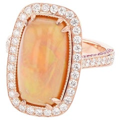 14 Karat Rose Gold Cushion Opal, Pink Sapphire, and Diamond Ring