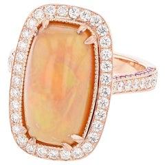 14 Karat Rose Gold Cushion Opal, Pink Sapphire, and Diamond Ring