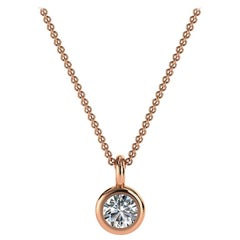 14 Karat Rose Gold Delicate Bezel Solitaire Diamond Pendant 'Center- 1/6 Carat'