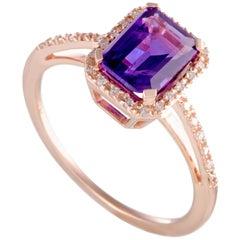 14 Karat Rose Gold Diamond and Amethyst Rectangular Ring