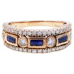 14 Karat Rose Gold Diamond and Blue Sapphire Band Ring