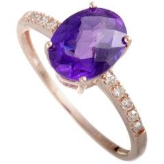 14 Karat Rose Gold Diamond and Oval Amethyst Ring