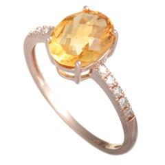 14 Karat Rose Gold Diamond and Oval Citrine Ring