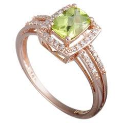 14 Karat Rose Gold Diamond and Peridot Small Rectangle Ring