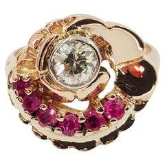 14 Karat Rose Gold Diamond and Ruby Ring
