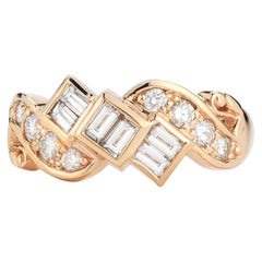 14 Karat Rose Gold Conflict Free Diamond Antique Reproduction Cocktail Ring
