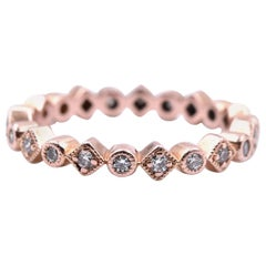 14 Karat Rose Gold Diamond Band