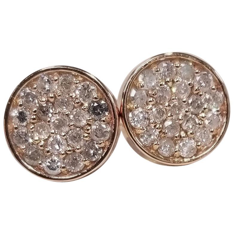 14 Karat Rose Gold Diamond Cluster Round Earrings Pave' Set