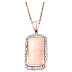 14 Karat Rose Gold Diamond Dog Tag Necklace