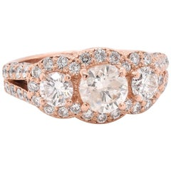 14 Karat Rose Gold Diamond Engagement Ring