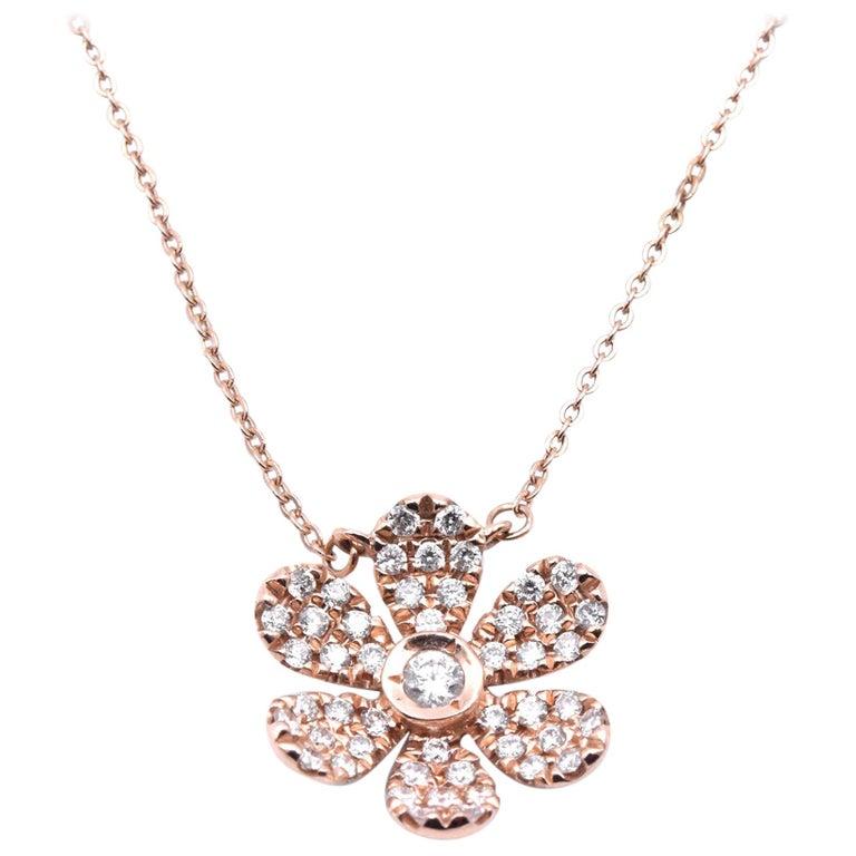 14 Karat Rose Gold Diamond Flower Necklace For Sale