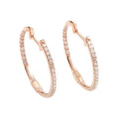 14 Karat Rose Gold Diamond Hoop Earrings AER-7555R