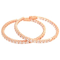 14 Karat Rose Gold Diamond Hoop Earrings