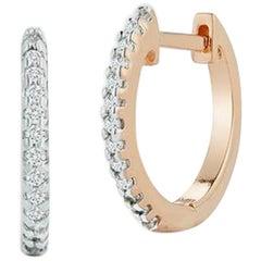 14 Karat Rose Gold Diamond Huggies