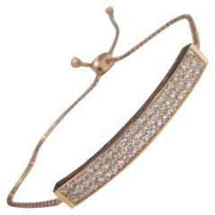14 Karat Rose Gold Diamond ID Pave' Bracelet with Adjustable Pulls