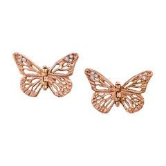 14 Karat Rose Gold Diamond Lace Monarch Hinge Butterfly Earrings