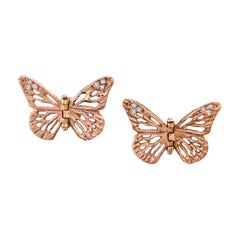 14 Karat Rose Gold Diamond Lace Monarch Hinge Butterfly Earrings