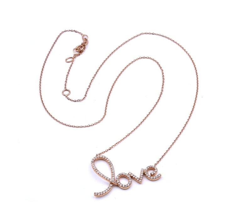 Designer: Custom Material: 14K rose gold Diamonds: 84 round brilliant cut = .50cttw Color: G Clarity: VS Dimensions: necklace measures 18-inches in length with adjusters Weight: 3.14 grams
