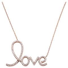 14 Karat Rose Gold Diamond Love Necklace