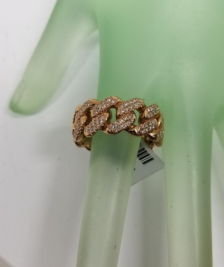 Modern 14 Karat Rose Gold Diamond Pave Link Ring For Sale