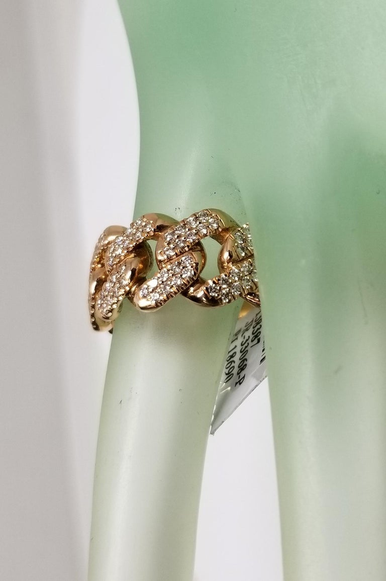 Round Cut 14 Karat Rose Gold Diamond Pave Link Ring For Sale