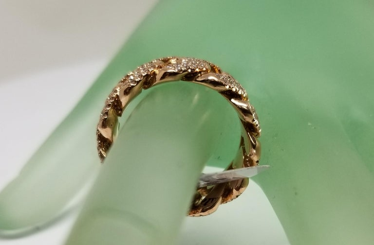 14 Karat Rose Gold Diamond Pave Link Ring In New Condition For Sale In Los Angeles, CA