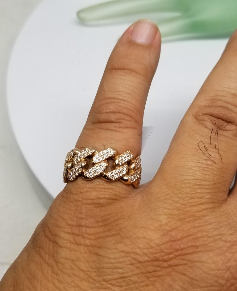 Women's or Men's 14 Karat Rose Gold Diamond Pave Link Ring For Sale