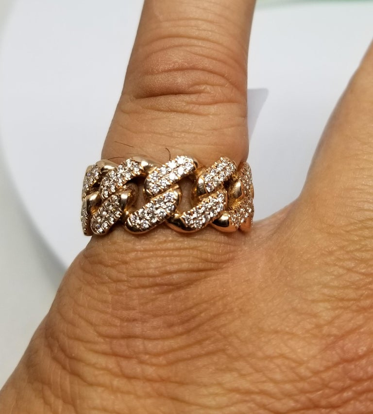 14 Karat Rose Gold Diamond Pave Link Ring For Sale 2
