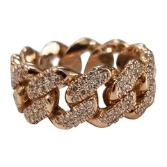 14 Karat Rose Gold Diamond Pave Link Ring