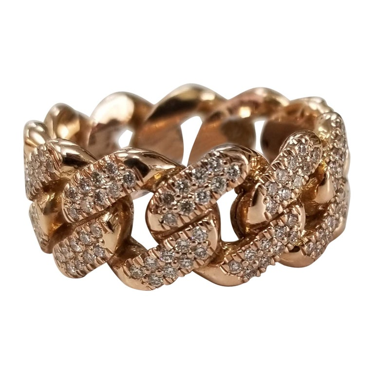 14 Karat Rose Gold Diamond Pave Link Ring For Sale
