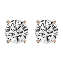 14 Karat Rose Gold Diamond Stud Earrings '1 1/2 Carat'
