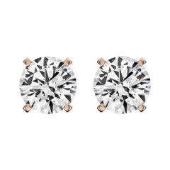 14 Karat Rose Gold Diamond Stud Earrings '3/4 Carat'