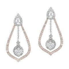 Diamond 14k Rose Gold Dangling Earrings