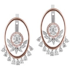 Round Diamond 14k Rose Gold Dangle Drop Earrings