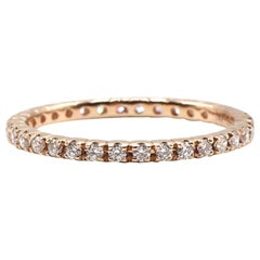 14 Karat Rose Gold Diamond Thin Eternity Band Stackable Ring