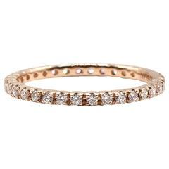 14 Karat Rose Gold Diamond Thin Eternity Band Stackable Ring