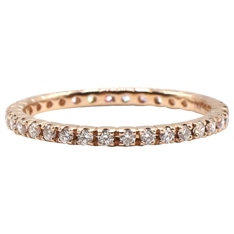 14 Karat Rose Gold Diamond Thin Eternity Band Stackable Ring For Sale