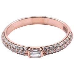 14 Karat Rose Gold Diamond Wedding Band