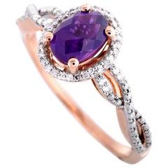 14 Karat Rose Gold Diamonds and Amethyst Oval Ring