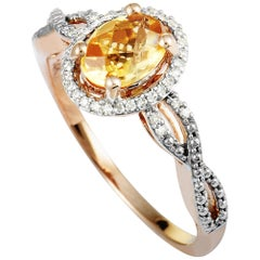 14 Karat Rose Gold Diamonds and Citrine Oval Ring