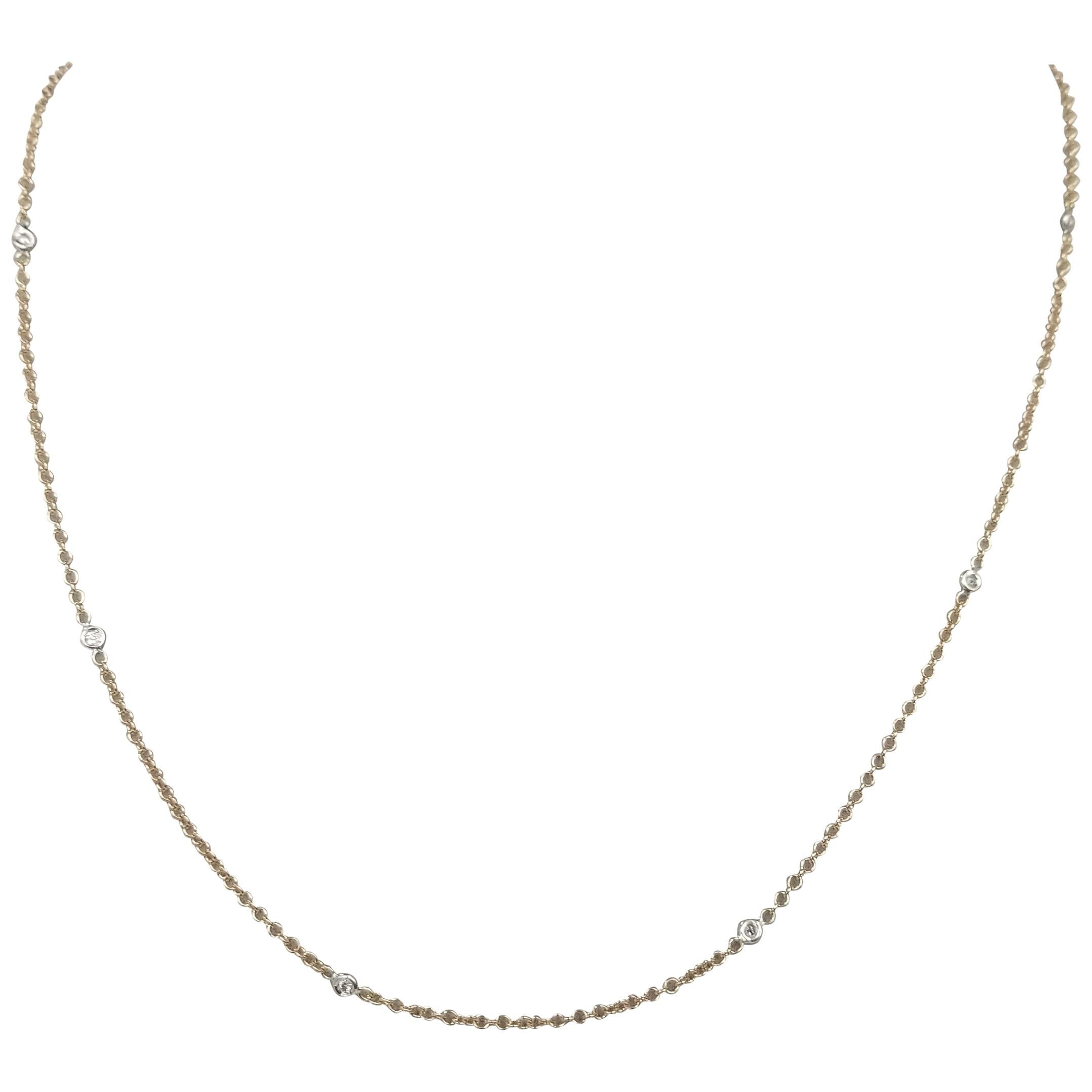 14 Karat Rose Gold Diamonds by the Yard Necklace