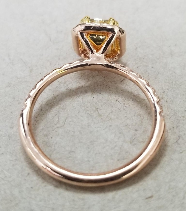 Art Deco 14 Karat Rose Gold EGL .93pts. Natural Light Yellow Diamond Halo Ring For Sale