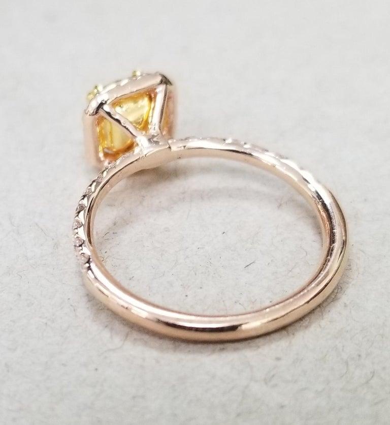 Cushion Cut 14 Karat Rose Gold EGL .93pts. Natural Light Yellow Diamond Halo Ring For Sale