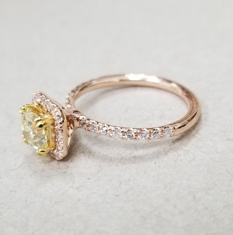 14 Karat Rose Gold EGL .93pts. Natural Light Yellow Diamond Halo Ring In New Condition For Sale In Los Angeles, CA