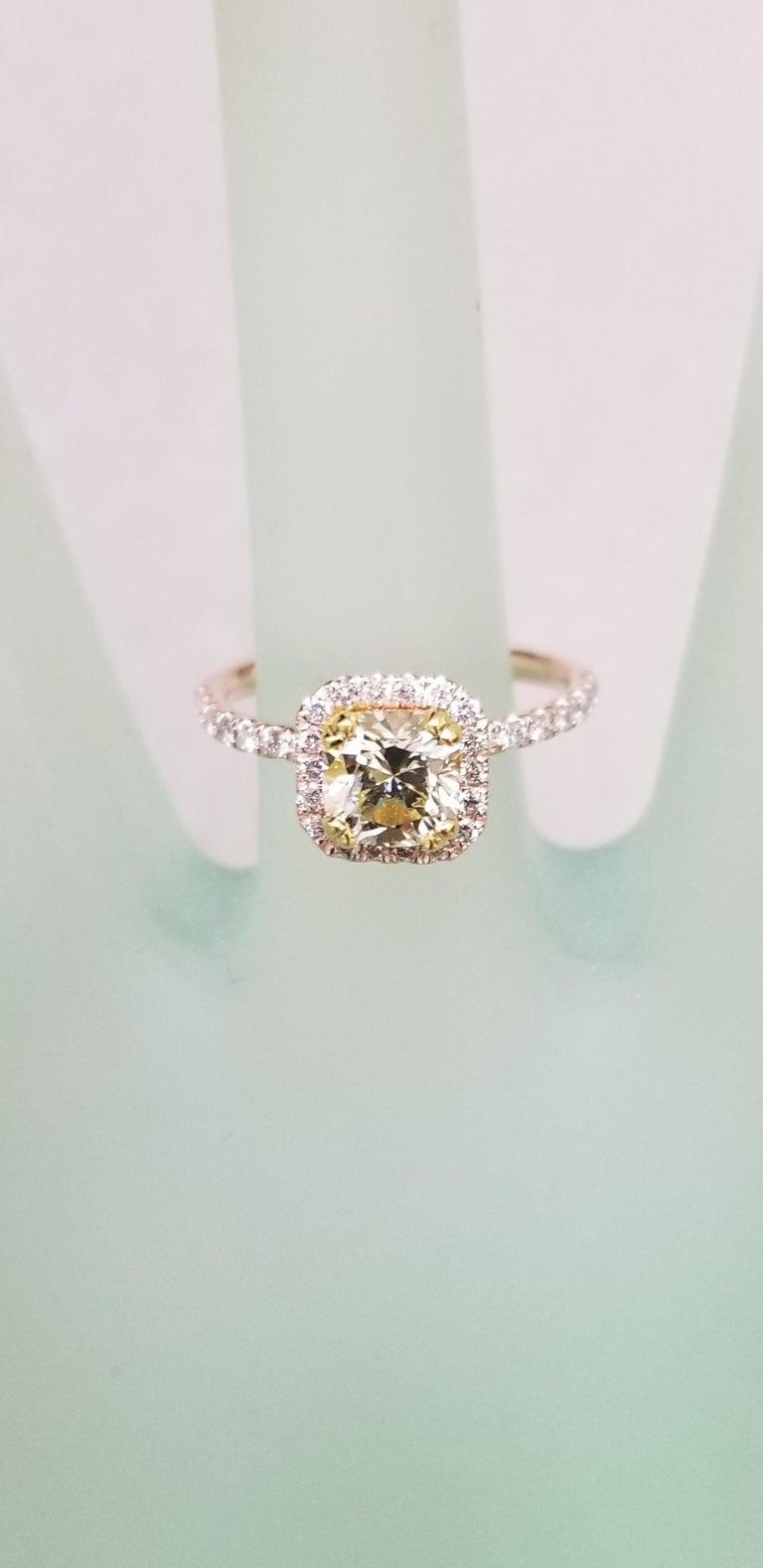 Women's 14 Karat Rose Gold EGL .93pts. Natural Light Yellow Diamond Halo Ring For Sale