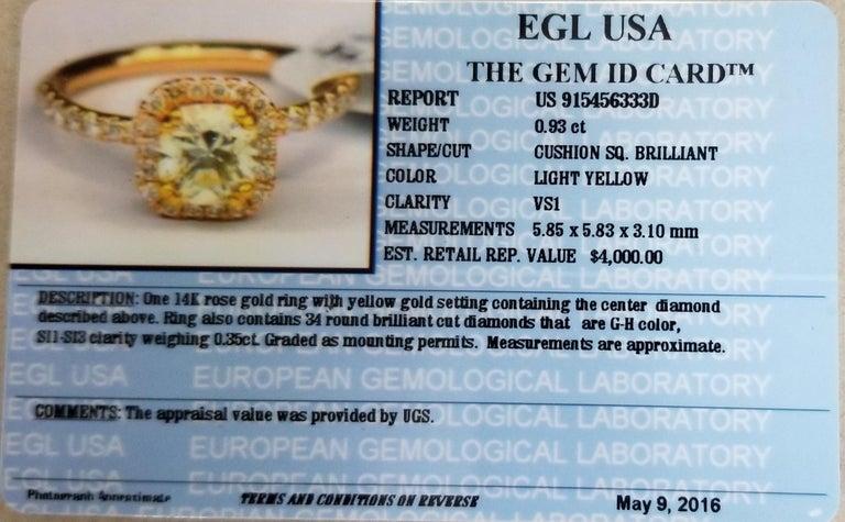 14 Karat Rose Gold EGL .93pts. Natural Light Yellow Diamond Halo Ring For Sale 1