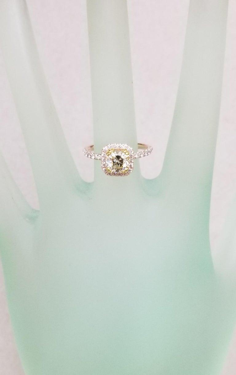 14 Karat Rose Gold EGL .93pts. Natural Light Yellow Diamond Halo Ring For Sale 2