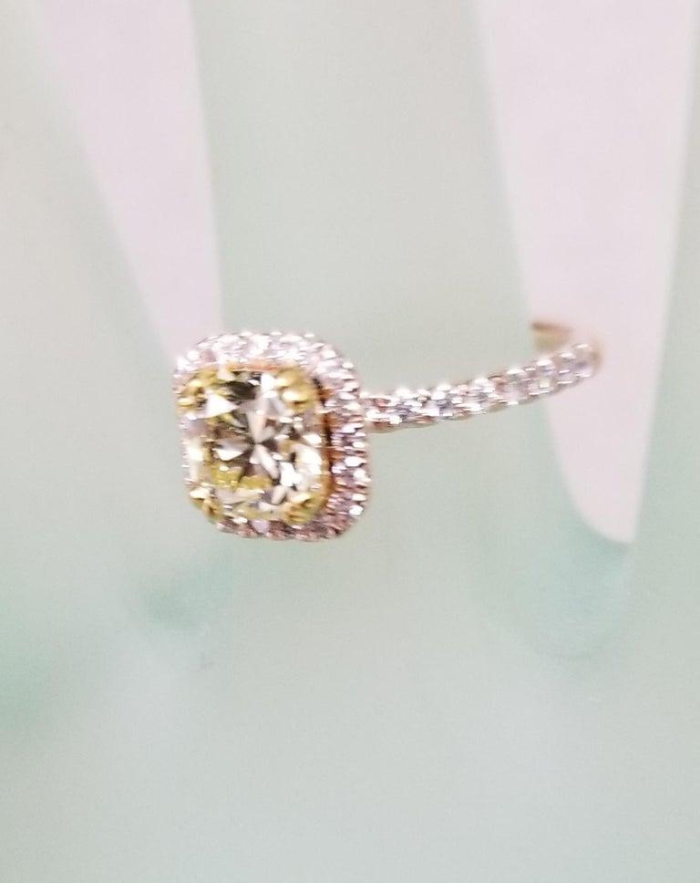 14 Karat Rose Gold EGL .93pts. Natural Light Yellow Diamond Halo Ring For Sale 3