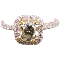 14 Karat Rose Gold EGL .93pts. Natural Light Yellow Diamond Halo Ring