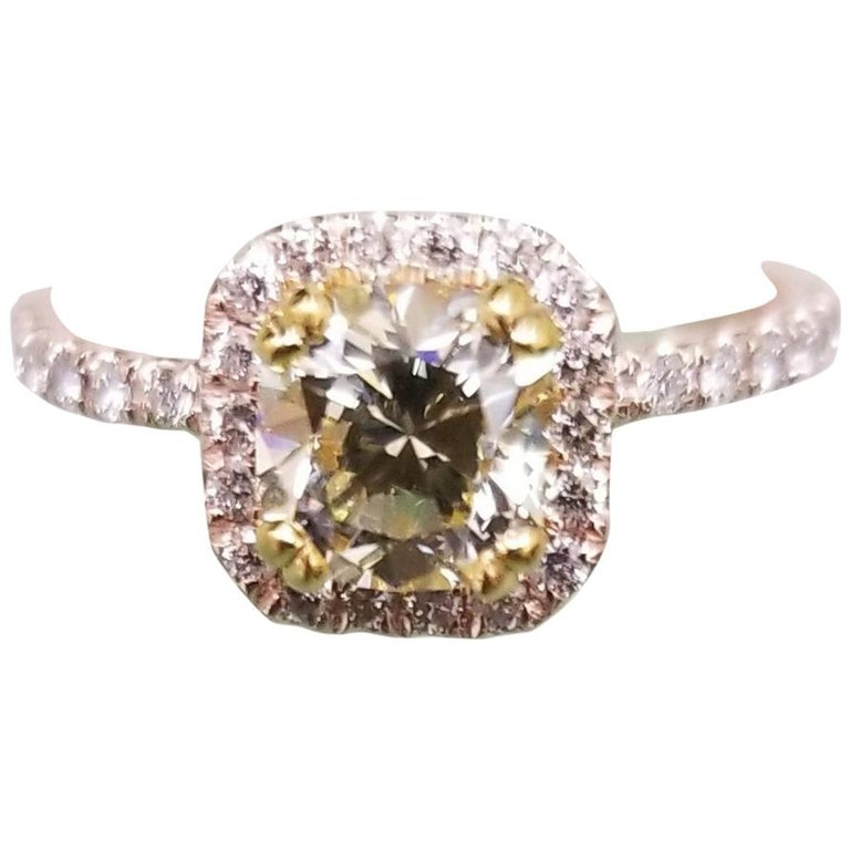 14 Karat Rose Gold EGL .93pts. Natural Light Yellow Diamond Halo Ring For Sale